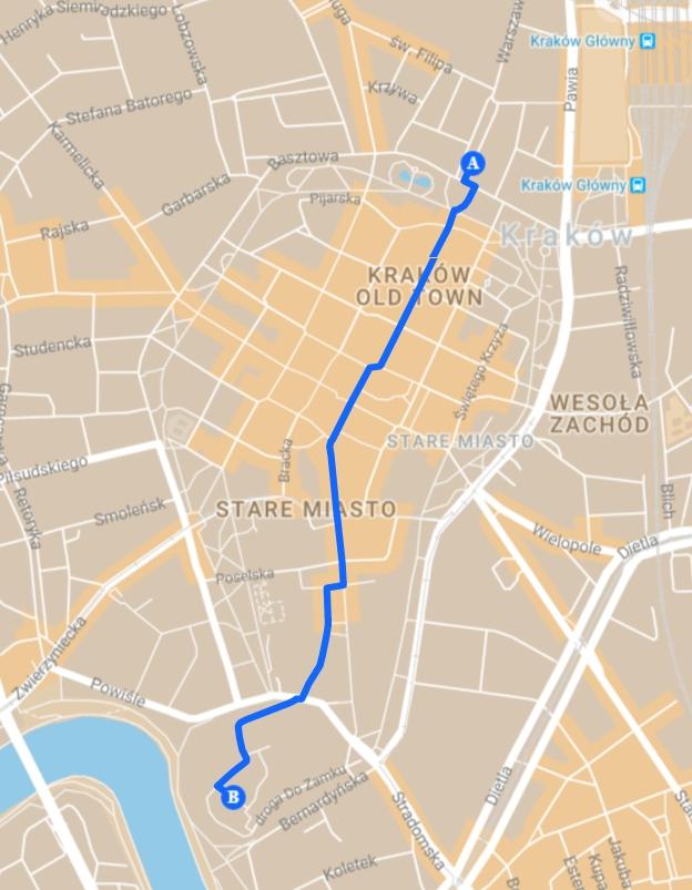 Trasa zwiedzania: Plac Matejki - Wawel