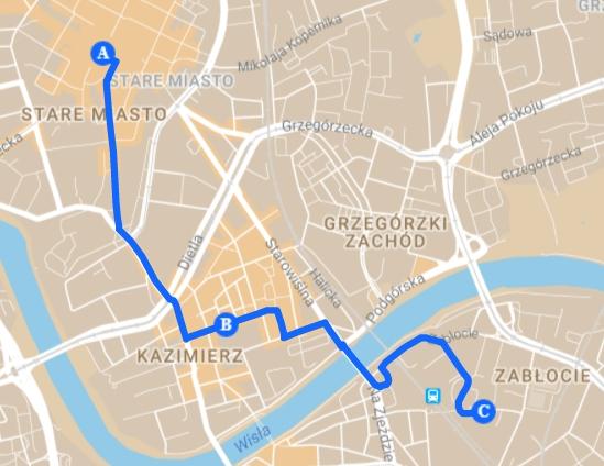 Trasa: Stare Miasto-KAzimierz-Podgórze